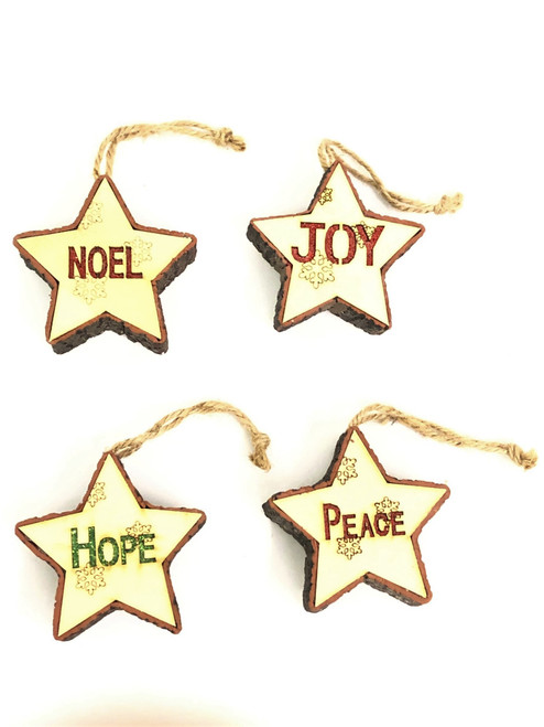 "Light up Christmas Tree Ornament ""PEACE"" - 11cm"