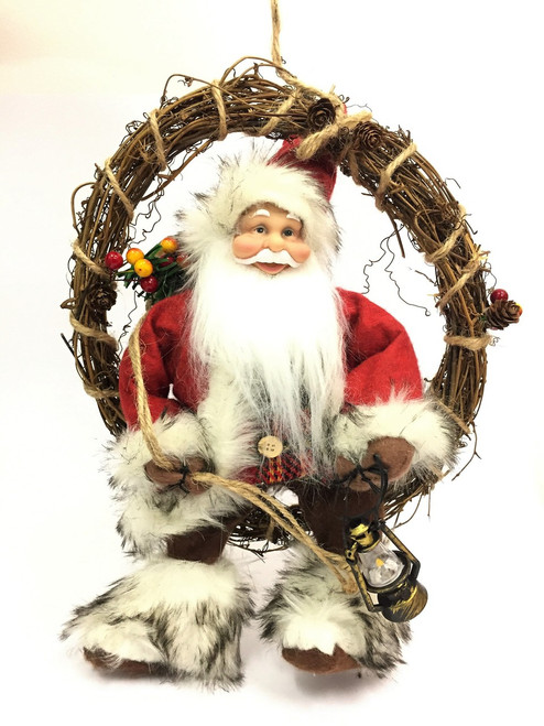 35cm Santa on Christmas Wreath   CLEARANCE ITEM!!!