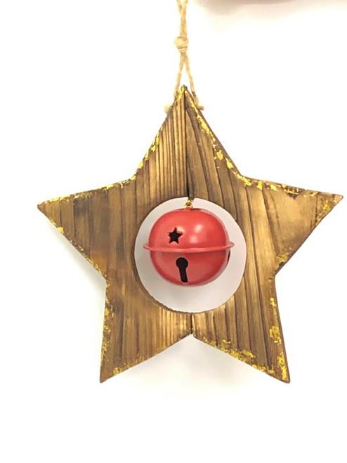 WD-CHRISTMAS STAR DOOR HANGER -  ROUND BELL - 12CM