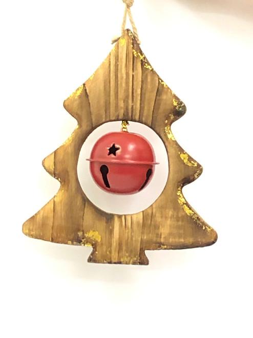 WD-CHRISTMAS TREE DOOR HANGER -  1 ROUND BELL - 12CM