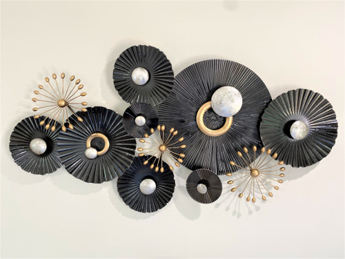 METAL WALL ART - BLACK & GOLD ABSTRACT - LARGE (134cm)