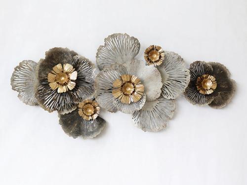 Gorgeous Gold Copper and Grey Wall Art Flower Arrangement - 155cm