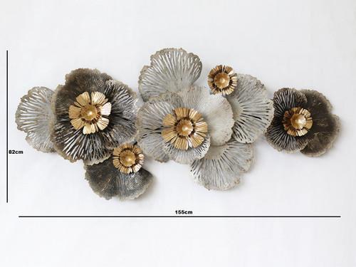 METAL WALL ART - BROWN GREY GOLD FLOWER - LARGE (134cm)