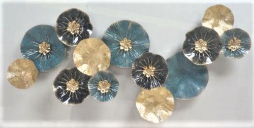 METAL WALL ART - AQUA GOLD BLACK FLOWERS - LARGE (126cm)