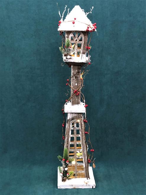 CHRISTMAS WOODEN LIGHT UP LANTERN - Medium 98CM Christmas Decoration