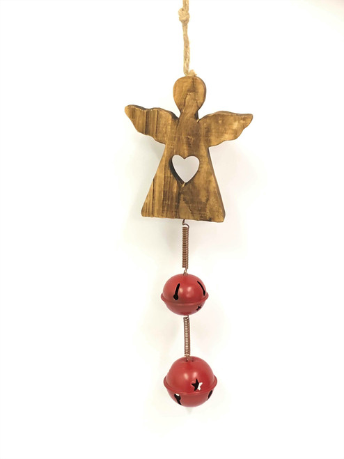 Hanging Christmas Ornament with double round bell - ANGEL