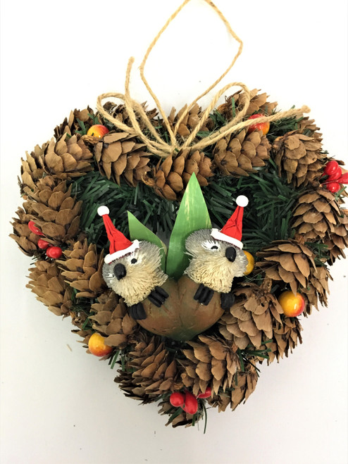 Double Gumnut Koala Pinecone Christmas Wreath - 14cm  Beautifully Designed and Hand Made Pinecone Christmas Wreath with Double Gumnut Koala - 14cm