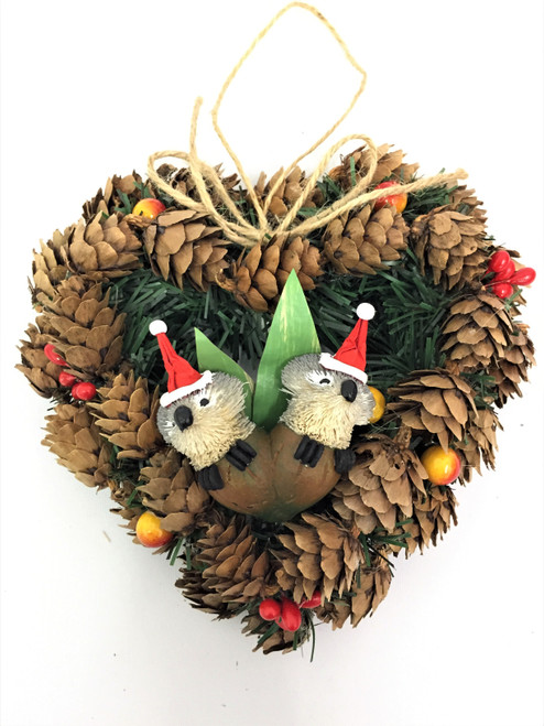 BBW-GUMNUT BABY CHRISTMAS PINECONE WREATH - 14CM Christmas Decoration