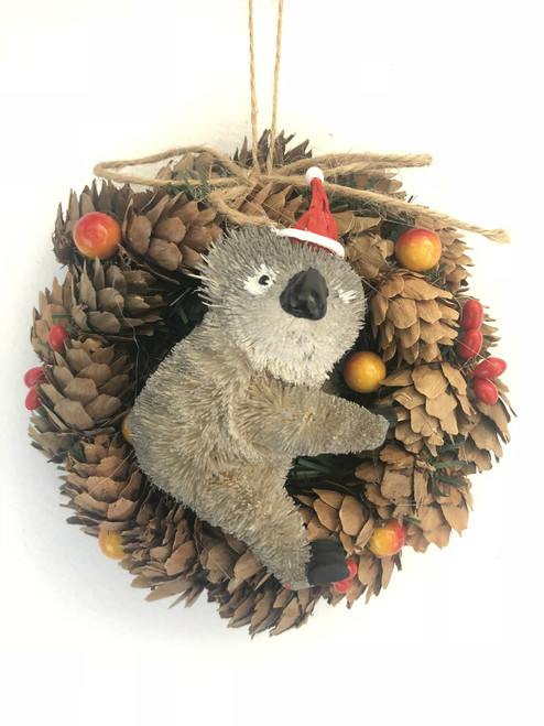 Koala Pinecone Christmas Wreath - 14cm  Beautifully Designed and Hand Made Pinecone Christmas Wreath with Koala - 14cm