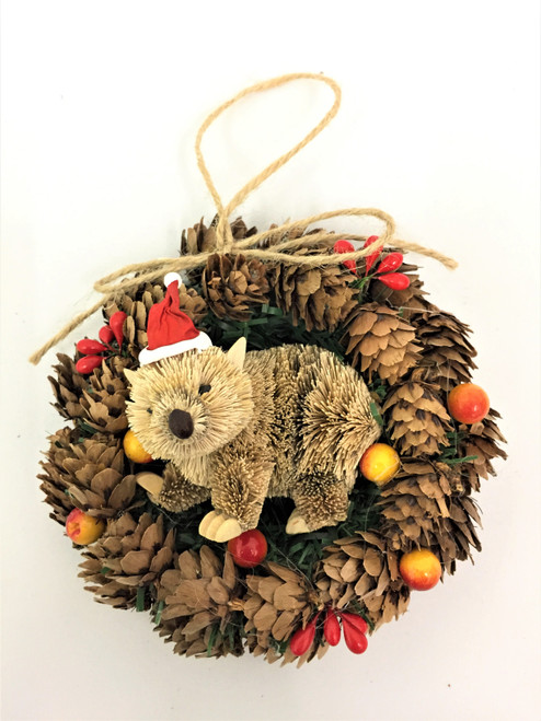 BBW-WOMBAT PINECONE CHRISTMAS WREATH - 14CM Christmas Decoration