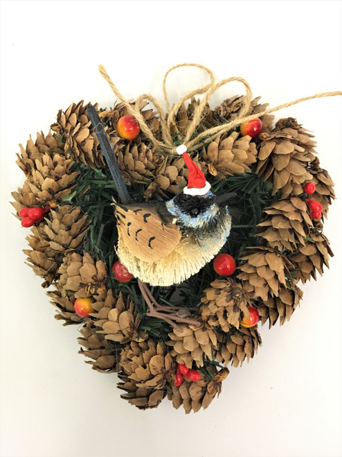 BBW-BLUE WREN CHRISTMAS PINECONE WREATH - 14CM Christmas Decoration
