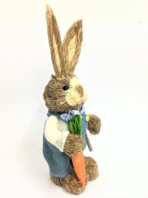 35cm BUNNY WITH CARROT AND SPADE - LIGHT BLUE MALE