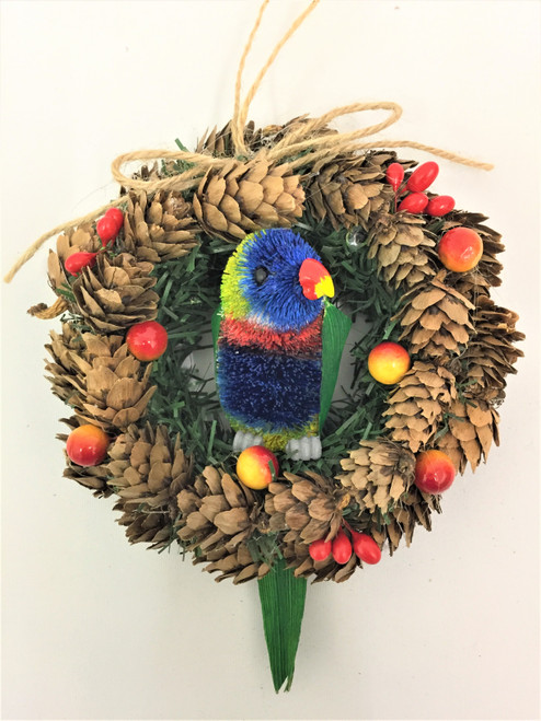 Rainbow Lorikeet on Pinecone Wreath. 14cm Beautifully designed and Hand Made Rainbow Lorikeet on a pinecone wreath. Great Door or wall hanger!