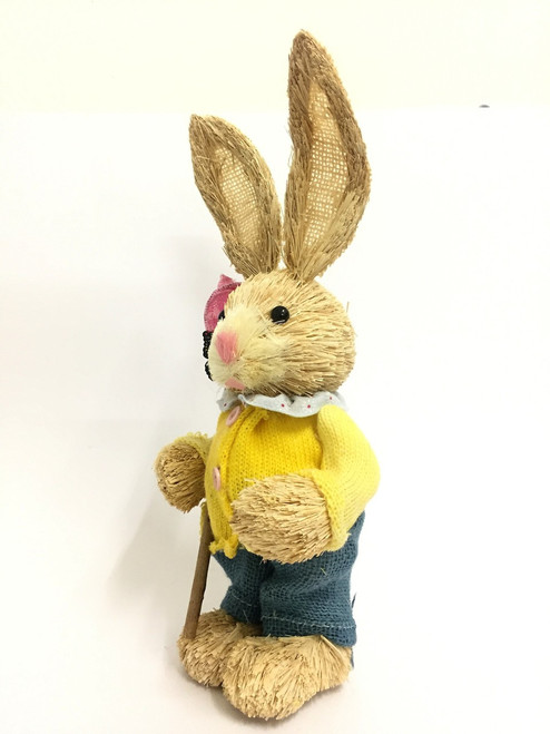 35cm BUNNY WITH BUTTERFLY NET - YELLOW MALE