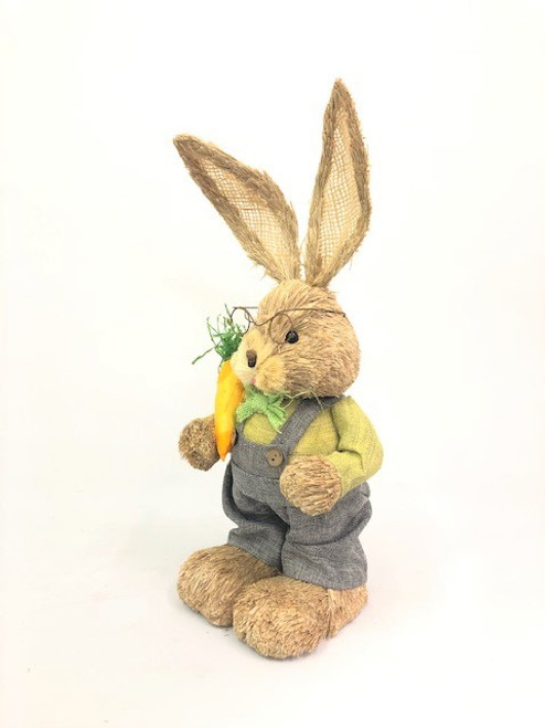 45cm BUNNY WITH OVERALLS AND CARROT - GREEN MALE