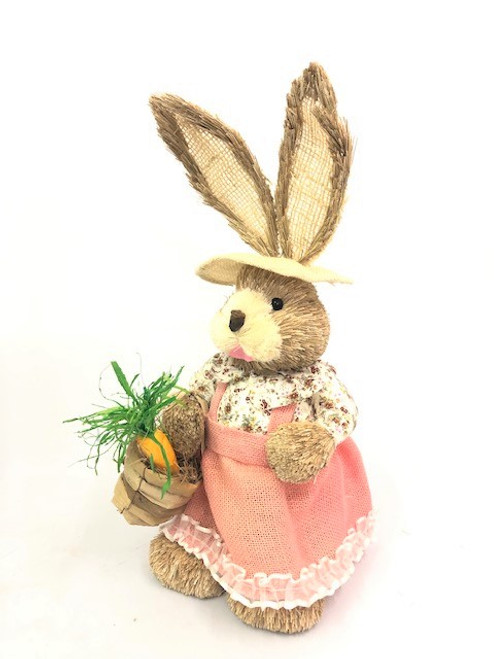 45cm BUNNY WITH HAT AND BASKET - PINK FEMALE