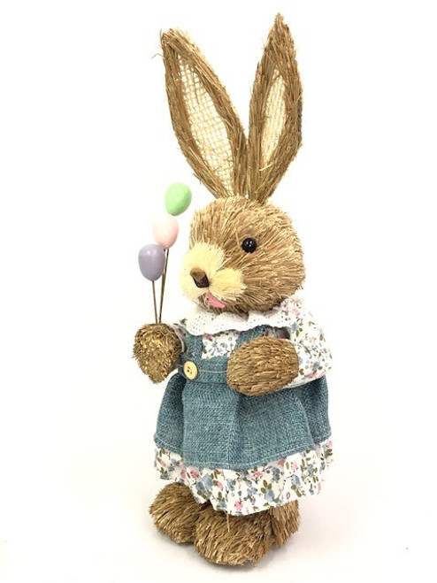 35cm BUNNY WITH BALLOONS - GREEN FEMALE
