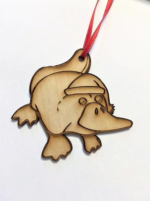 Platypus - Wooden Christmas Tree Ornament - 10cm high