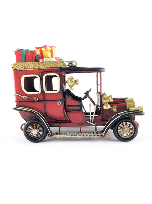Beautifully hand Made Metal Rusty Old VINTAGE Christmas Car - 20cm (Medium Size)