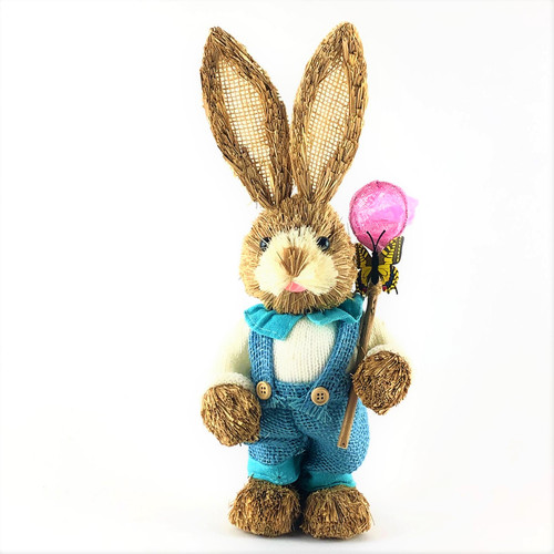 35cm - BRISTLESTRAW BUNNY RABBIT - BLUE WITH BUTTERFLY NET - MALE