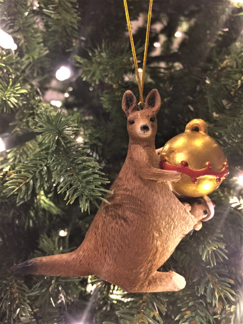 C-Kangaroo Christmas Tree Ornament - With Joey and Bauble 10-12cm