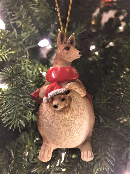 C-Kangaroo Christmas Tree Ornament - With Joey and Scarfe 10-12cm