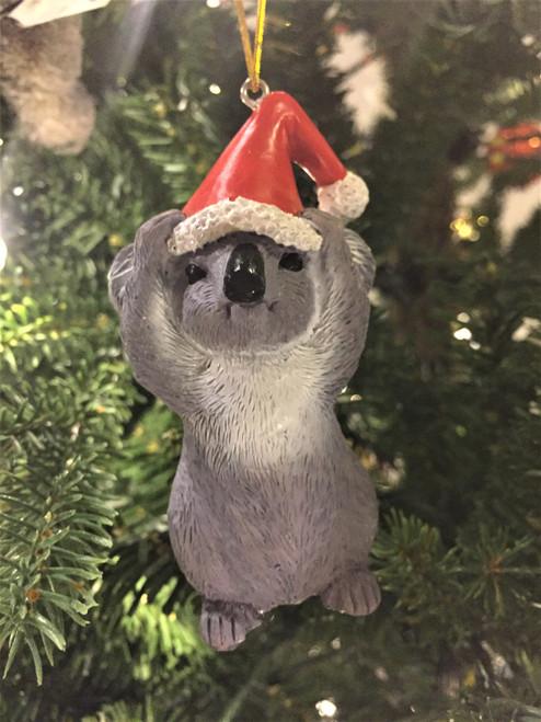 C-Koala Christmas Tree Ornament - Wearing Santa Hat 8-10cm