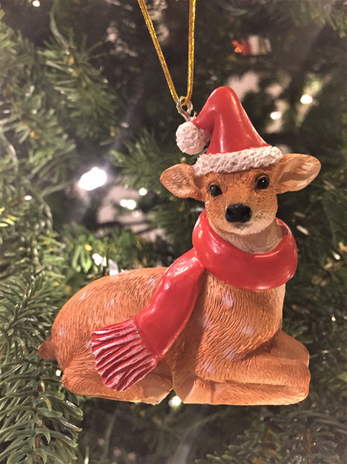 C-Deer Christmas Tree Ornament - Wearing Christmas Scarfe 8-10cm