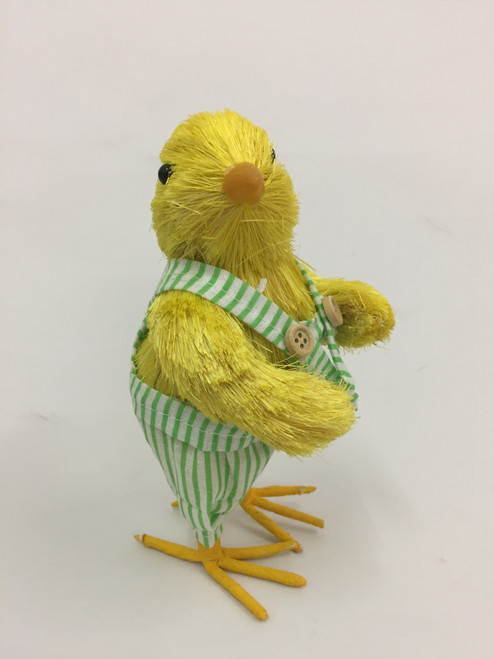 Beautifully Handcrafted, Handmade Chick wearing overalls.    18cm
