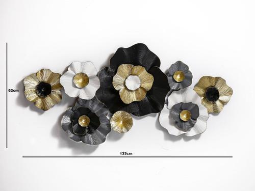 Gorgeous Black White Gold flower Wall Art - 133cm
