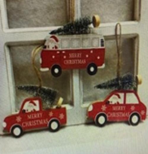 CHRISTMAS CARS (set of 3) - CAR, TRUCK, COMBI - 11CM