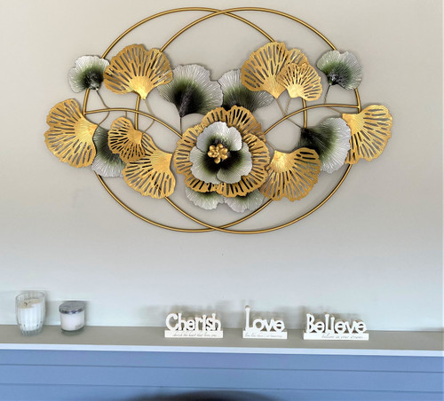 Gold and Green Large Flowers and Leaves with Large Rings 116cm