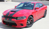 Front Angle View of Red Wide Body Charger SRT 392 Stripes N CHARGE RALLY 15 2015-2021