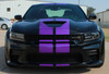 Front of black Scat Pack Dodge Charger SRT Stripes N CHARGE RALLY 2015-2021