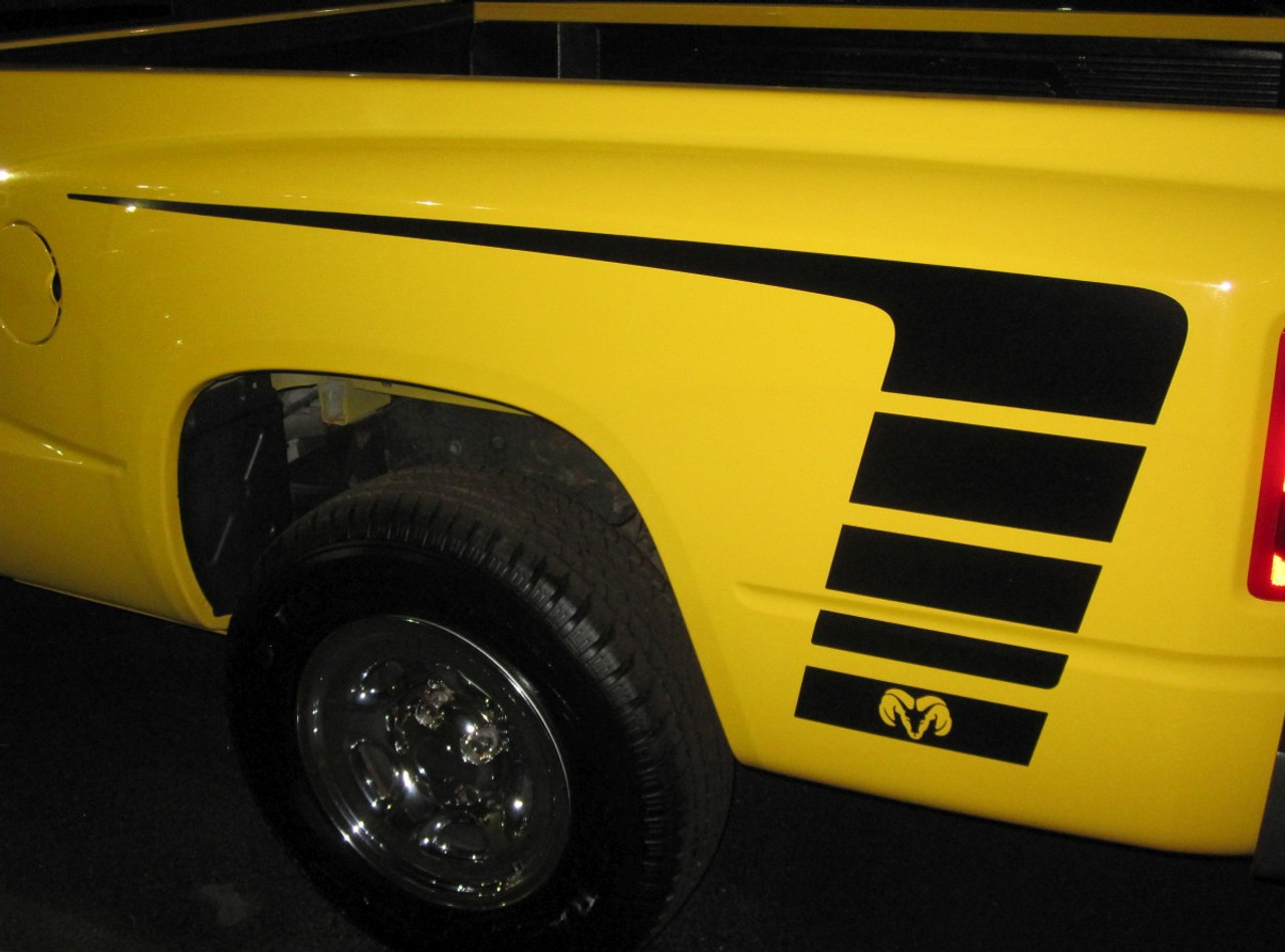 2009-2016 Dodge Ram Rebel Vinyl Decal Graphic Racing Rebel 4x4 Truck Stripe