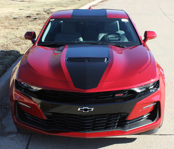Red Chevy Camaro with 2019 Camaro Wide Center Graphic Stripes OVERDRIVE 19 2019-2020