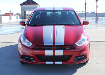 Front of Dodge Dart Hood Stripes DART RALLY 3M 2013 2014 2015 2016