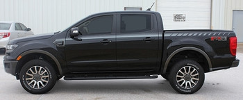 Side Profile View of Black 2019 Ford Ranger Stripes UPROAR SIDE DECALS 2020 2019