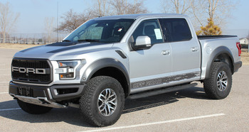 Silver 2019 Ford F150 Raptor Stripes VELOCITOR ROCKER 2018-2020