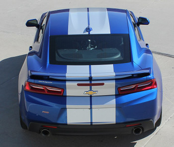 Silver Hood Stripes on Blue Camaro - 2019 Camaro Rally Racing Stripes TURBO RALLY 19 2019-2020