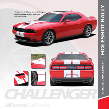 Dodge Challenger Hellcat Rally Racing Stripes Center HOLESHOT RALLY 2015-2020 2021 Premium Auto Striping