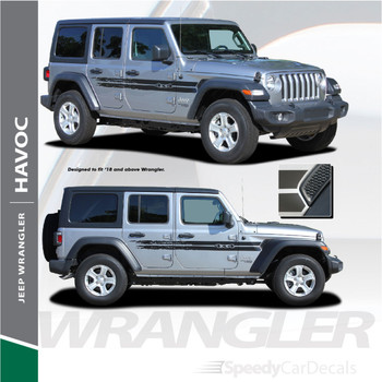 2018 2019 2020 Jeep Wrangler Side Decals HAVOC Stripe Kit 3M Premium and Supreme Vinyl