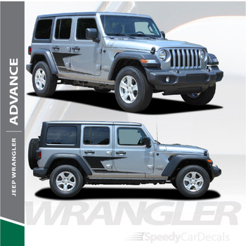 2018-2021 Jeep Wrangler Side Decals ADVANCE Stripe Kit 3M Premium and Supreme Install Vinyl