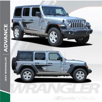 2018-2021 Jeep Wrangler Side Decals ADVANCE Stripe Kit 3M Premium Auto Striping Vinyl