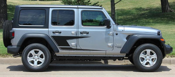 Side View of 2019 Jeep Wrangler Side Stripes ADVANCE SIDE KIT 2018-2020