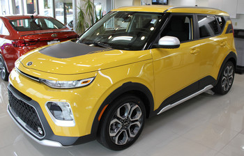 Front of Yellow 2020 Kia Soul Graphics SOULPATCH 20