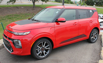 Front View of Red 2020 Kia Soul Side Stripes SOULED ROCKER