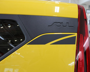 Yellow 2020 Kia Soul Side Decals OVERSOUL
