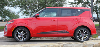 Side View of Red 2020 Kia Soul Side Door Stripes SOULED ROCKER