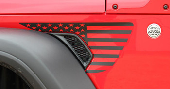Side of red PATRIOT Jeep Gladiator Side Vent Star Vinyl Graphics Decal Stripe Kit for 2020-2021